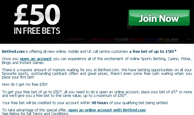 Betfred Free Bet Terms