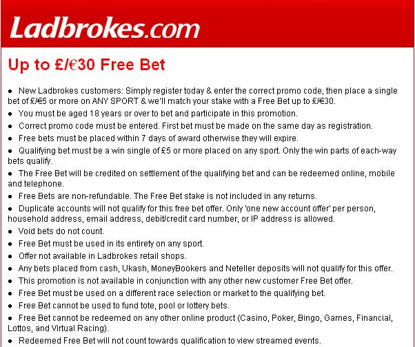 Ladbrokes Free Bet Info